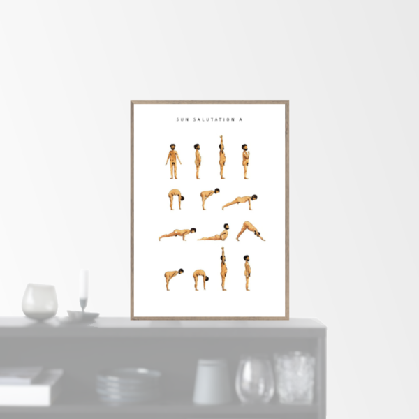 """Sun Salutation A - man - golden"" plakat (A5)  Yoga Prints"