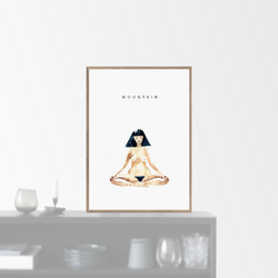 """Mountain meditation"" plakat (50x70cm)  Yoga Prints"
