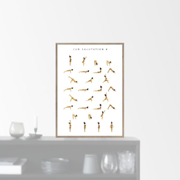 """Sun Salutation B - woman - golden"" plakat (A5)  Yoga Prints"