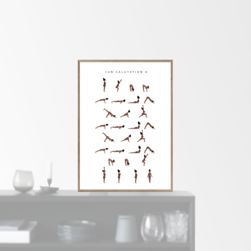 """Sun Salutation B - woman - brown"" plakat (A3)  Yoga Prints"