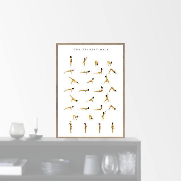 """Sun Salutation B - woman - golden"" plakat (50x70cm)  Yoga Prints"