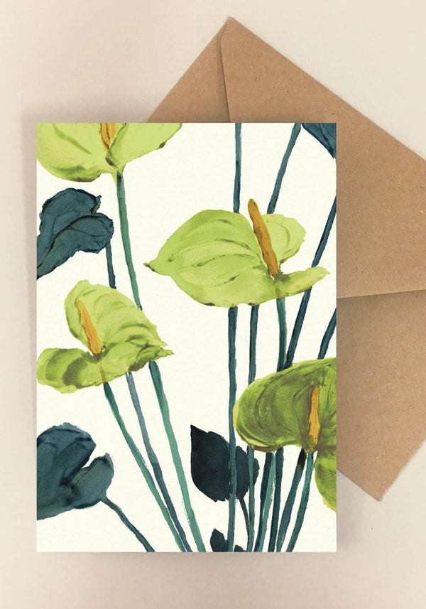 """Anthurium green"" foldekort"