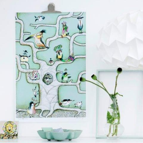 """Bird Tree Mint"" plakat (A4)  Sofie Børsting"