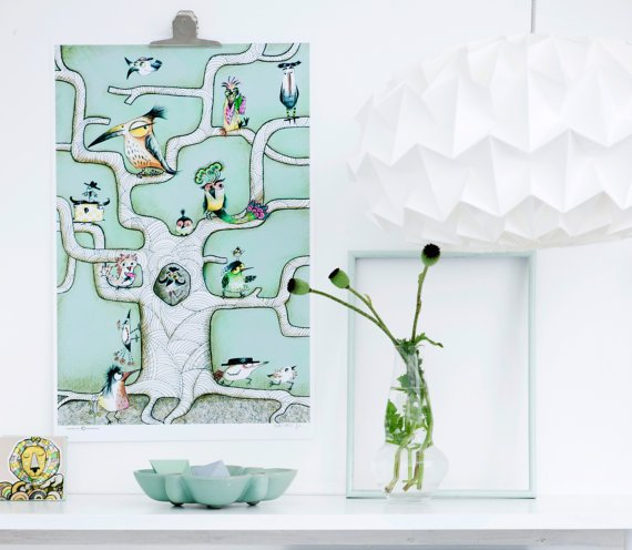 """Bird Tree Mint"" plakat (A3)  Sofie Børsting"