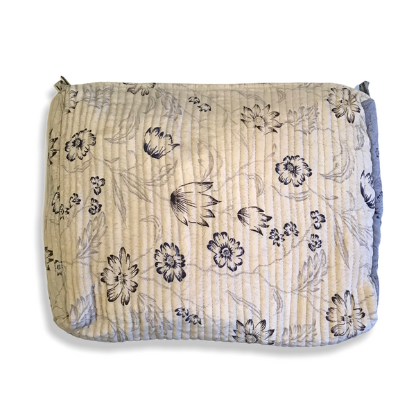 Stor make-up taske / washbag (grå/blomstret)