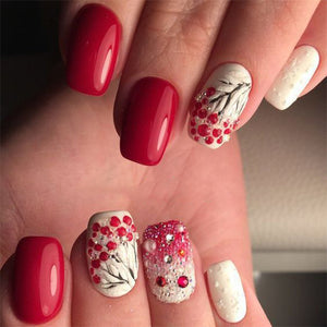 Amazing Winter Snowy Nails Art Design