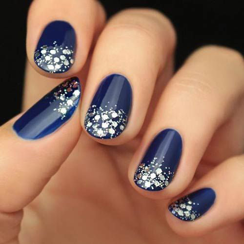 Royal Blue Nails With Silver Accents;blue manicure;blue nail designs;Blue Gel;Nail Polish;blue nail art;rhinestone nails;