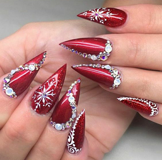 50+ Christmas Red Stiletto Nail Art Ideas , Easy Designs for