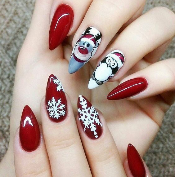 50+ Christmas Red Stiletto Nail Art Ideas; Christmas nail art design; Christmas nail art design stiletto; simple Christmas nail art design.Stiletto Nail Art;Red Stiletto Nail Art; Red Nail Art;