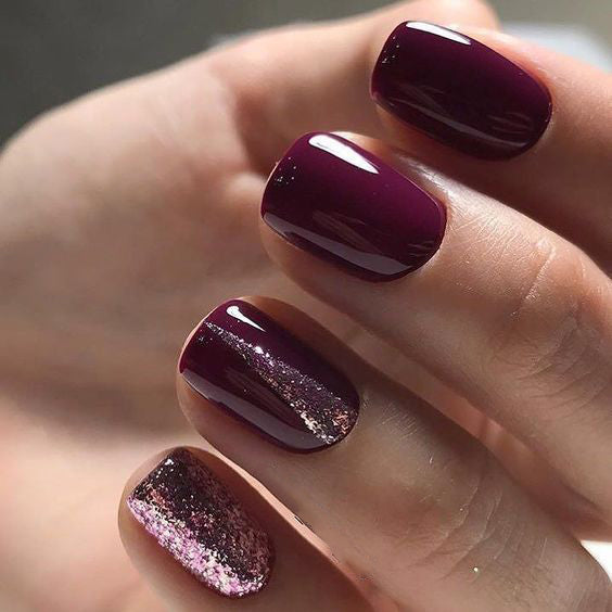 36+ Pretty Trending Fall Nails; coffin nails; Fall gel nail; short Purple nails; Purple cute nails; Purple matte nails; Purple glitter nails.