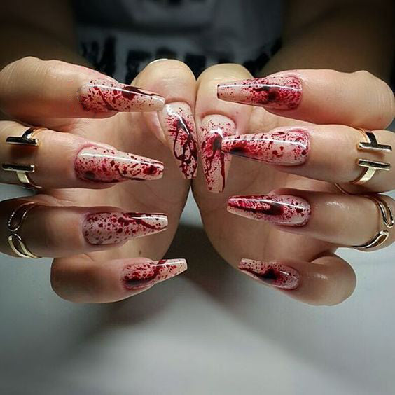50+ Creepy Halloween Bloody Nails Designs; Creepy Halloween nails; cute Halloween nails; Halloween nails acrylic; stiletto nails; Halloween coffin nails; easy Halloween nails; Halloween Bloody Nails