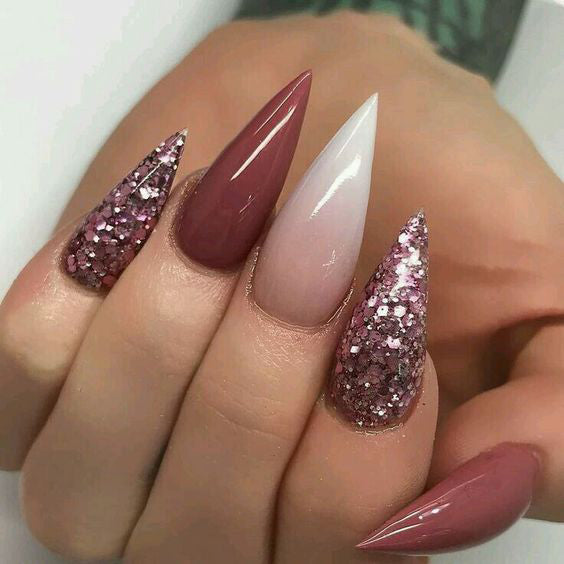 21+ Stylish Nude Stiletto Nails To Be In Trends 2019; Gorgeous Glitter Stiletto Nails; Nude Stiletto nails; cute Stiletto nails; Stiletto coffin nails; easy Stiletto nails; Stiletto nails designs;