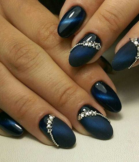 Cobalt Blue Nails With Rhinestones;blue manicure;blue nail designs;Blue Gel;Nail Polish;blue nail art;rhinestone nails;