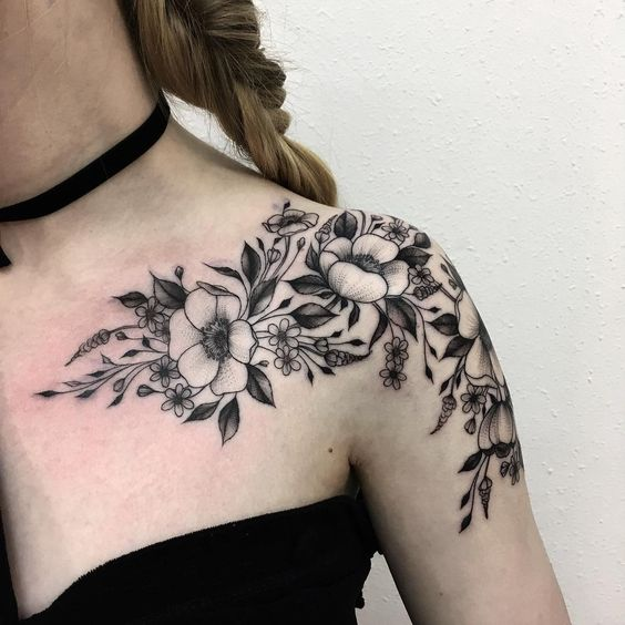 50+ Shoulder Tattoo For Woman;Simple Shoulder tattoo ; flower tattoos; rose tattoos; beautiful tattoos; Shoulder tattoos; sex tattoos