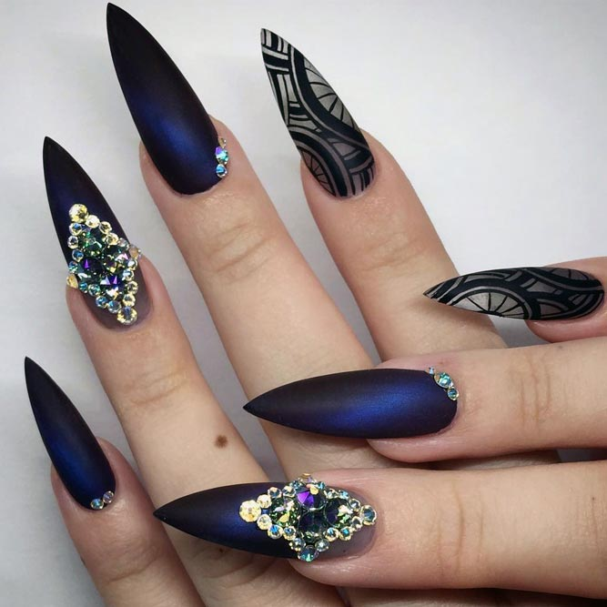 Cute Stiletto Nails With Matte Accents; Blue Stiletto nails; cute Stiletto nails; Stiletto coffin nails; easy Stiletto nails; Stiletto nails designs;