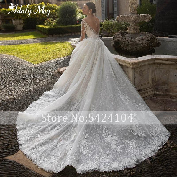 Appliques Detachable Train Lace Mermaid Wedding Dress - $595.59