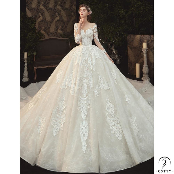 Beading Pearls Appliques Lace Illusion Princess Ball Gown Wedding Dress
