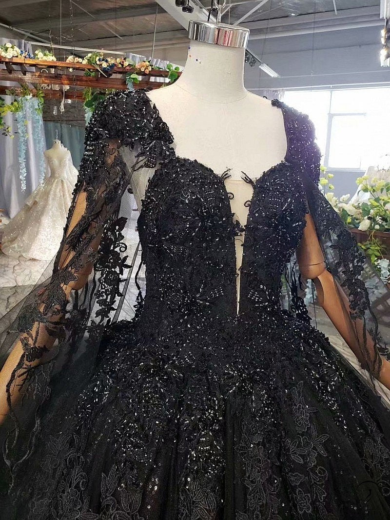 Black Slim Fit Luxury Long Trail Flower Wedding Dress-OSTTY