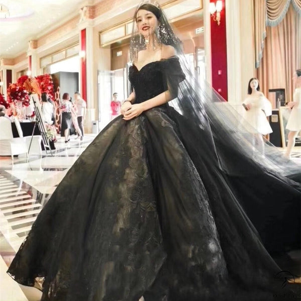 Black Slim Fit Luxury Long Trail Flower Wedding Dress OS0041 - $599.99
