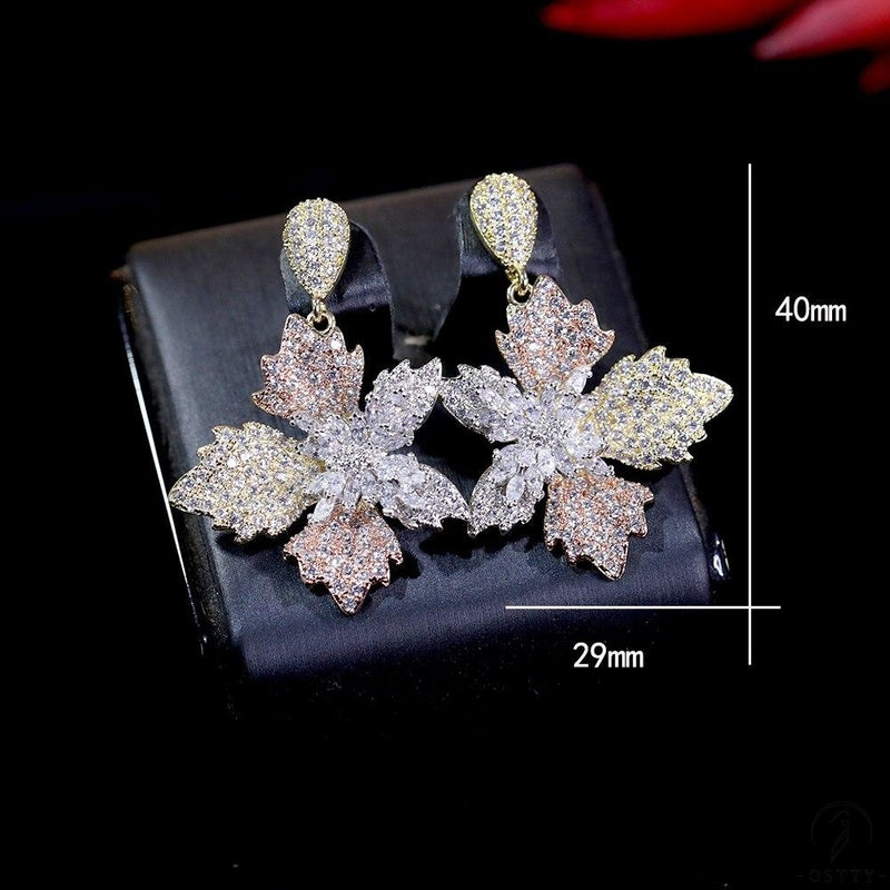 elegant flowers ladies earrings for women cubic wedding bridal earrings - $39.54