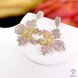 elegant flowers ladies earrings for women cubic wedding bridal earrings - Platinum Plated / Other - $39.54
