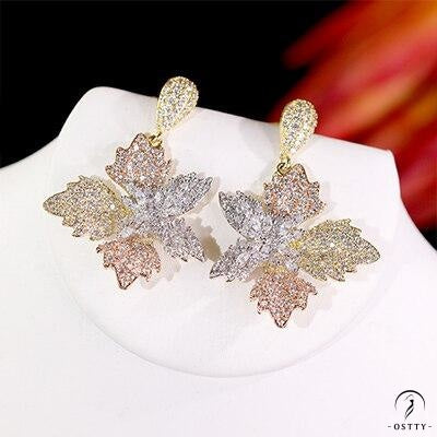 elegant flowers ladies earrings for women cubic wedding bridal earrings - Cubic Zirconia / Other - $42.48