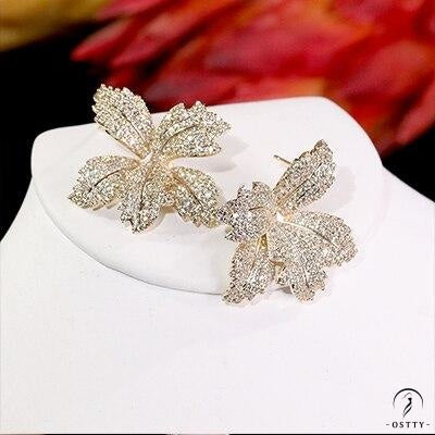 flower cubic women's engagement party anniversary dress up earrings - Gold-color / Other - $40.12