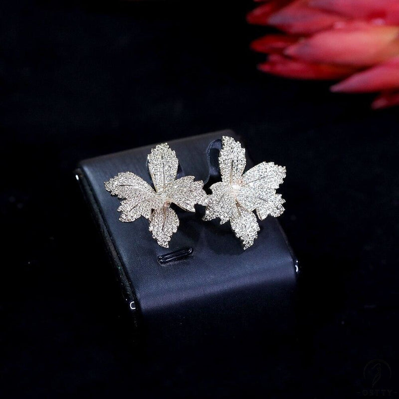flower cubic women's engagement party anniversary dress up earrings - $40.12