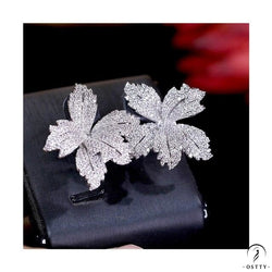 flower cubic women's engagement party anniversary dress up earrings - Cubic Zirconia / Other - $40.12