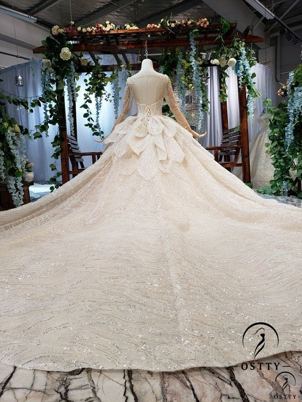 Gold Long Sleeve Beading Long Trail Wedding Dress - OSTTY
