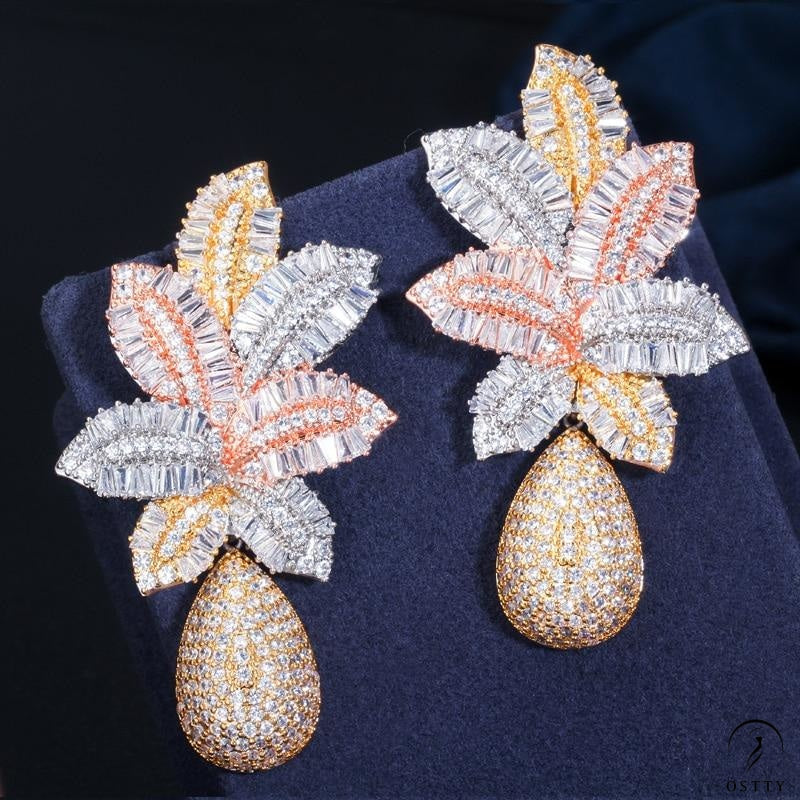 Gold Luxury Large Leaf Drop Flower Wedding Party Earring