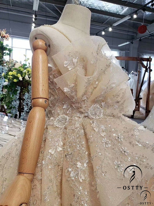 Gold One Shoulder Elegant Long Tail Wedding Dress - OSTTY