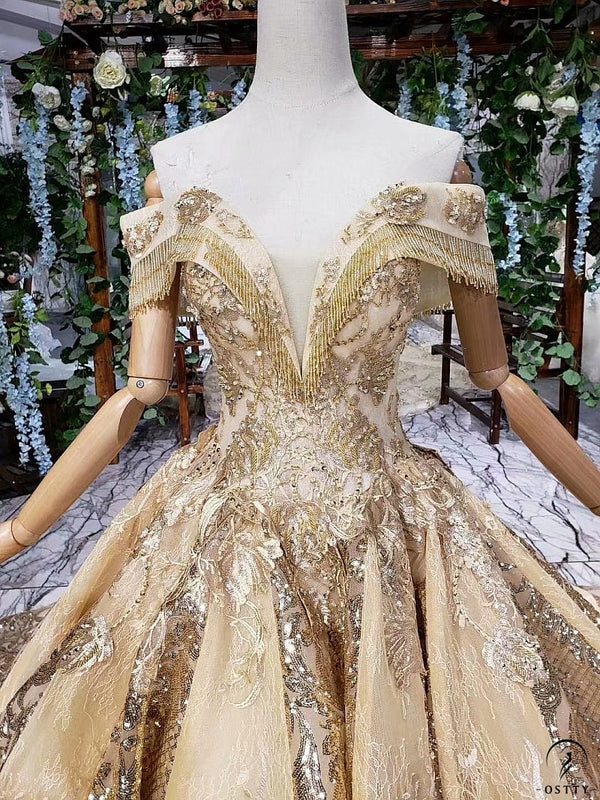 Gold V Neck Embroidery Sleeveless Long Trailling Wedding Dress 11923 - OSTTY
