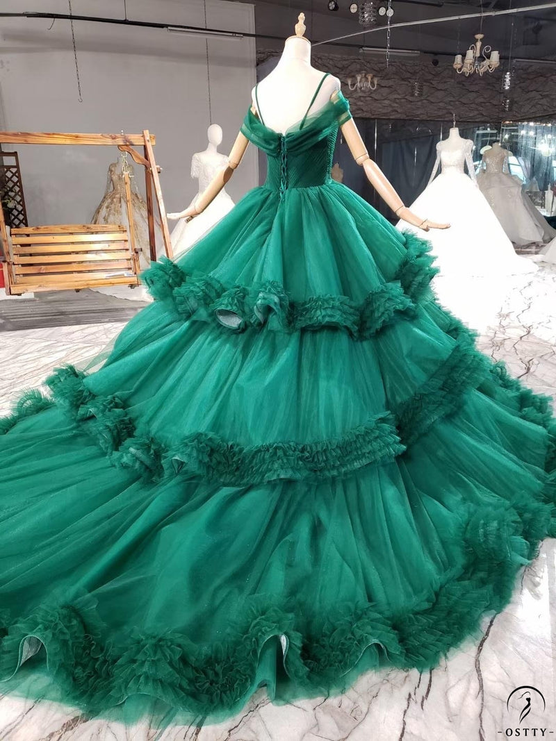 Green Quinceanera Dresses Luxury Lace Up Dresses OS0034