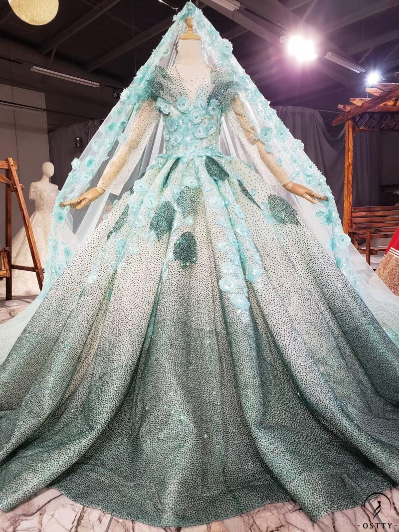 Green Quinceanera Dresses Luxury Lace Up Dresses OS0035 - $499.99