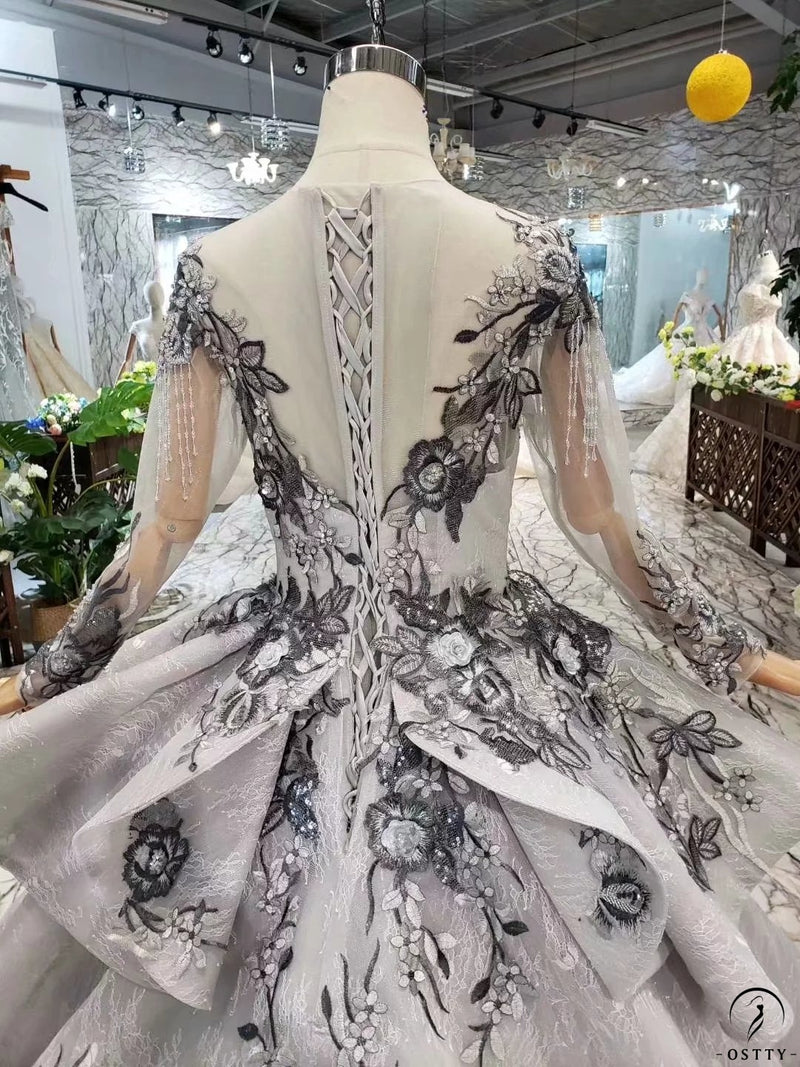 Grey Long Sleeve Embroidery Simple Luxury Long Tailling Wedding Dress - OSTTY