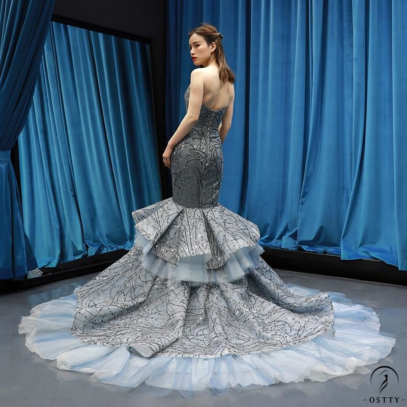 Grey Mermaid Wedding Dress Appliques Off Shoulder Dress 66809 - $799.99