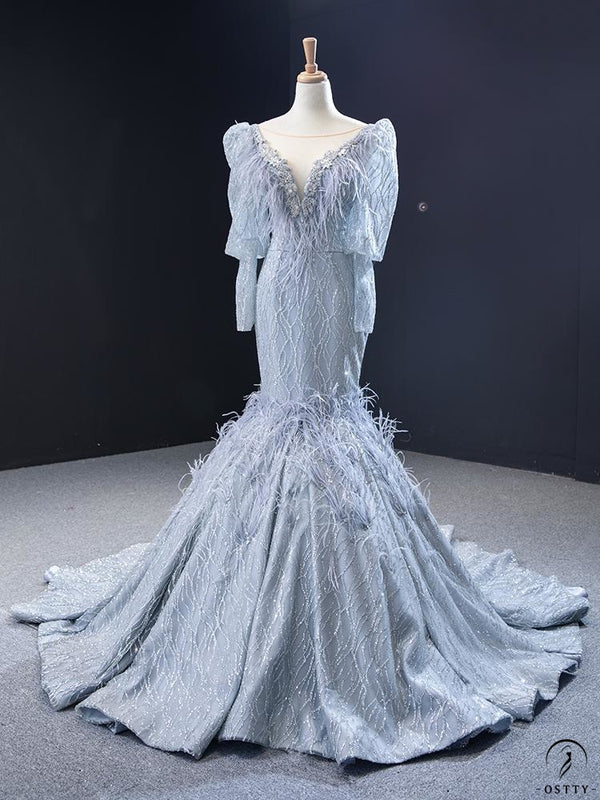 Grey Mermaid Wedding Dress Appliques Scoop Neck 66952 - $599.99