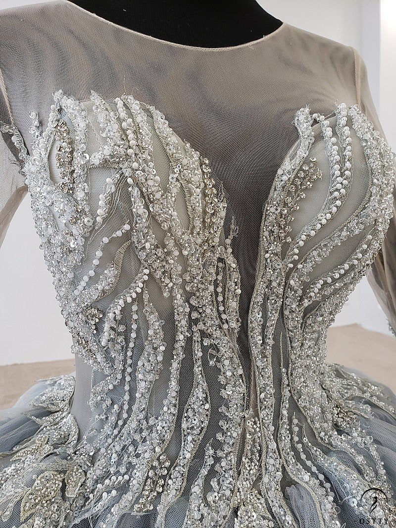 Grey Wedding Gowns Sequins O Neck  Lace Wedding Dress OS99258 - OSTTY