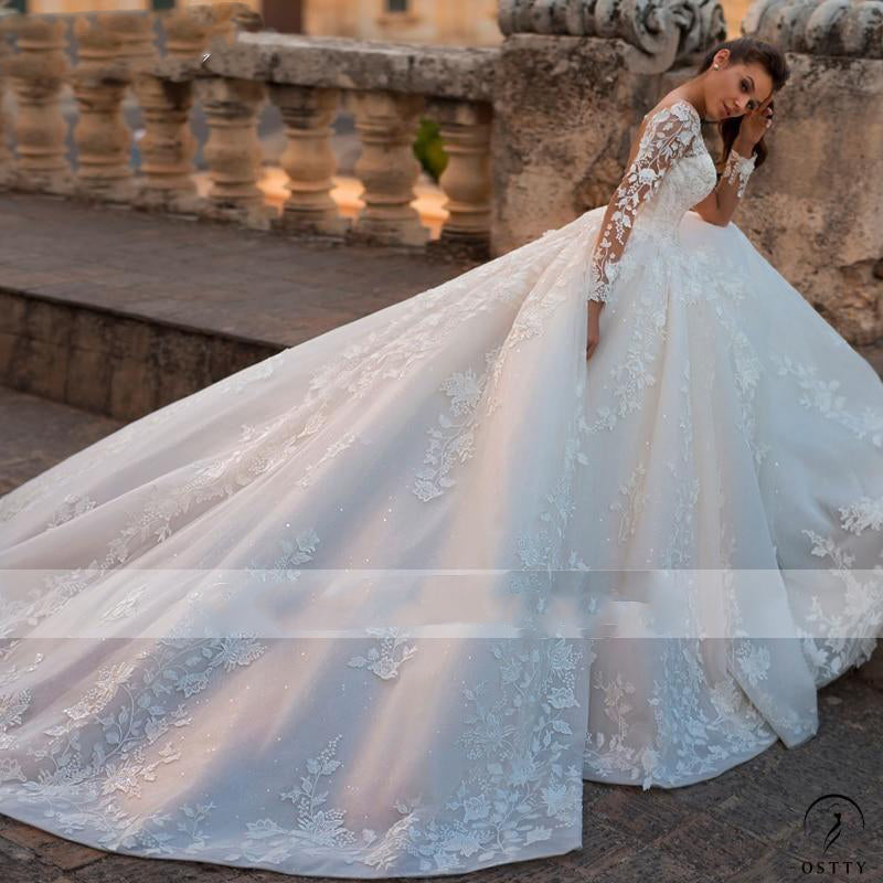 Long Sleeve Beaded A-Line Wedding Dress Scoop Neck Lace Up Bride Gown - $575.98