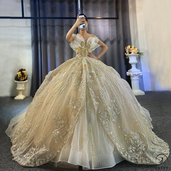 Luxury Gold Wedding Dress Long Sleeve V Neck Full Beading Ball Gown - $1,139