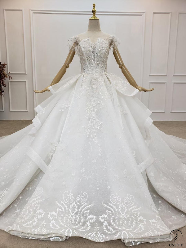 Luxury V Neck Long Train Wedding Dress TK001 - wedding dresses $699.99