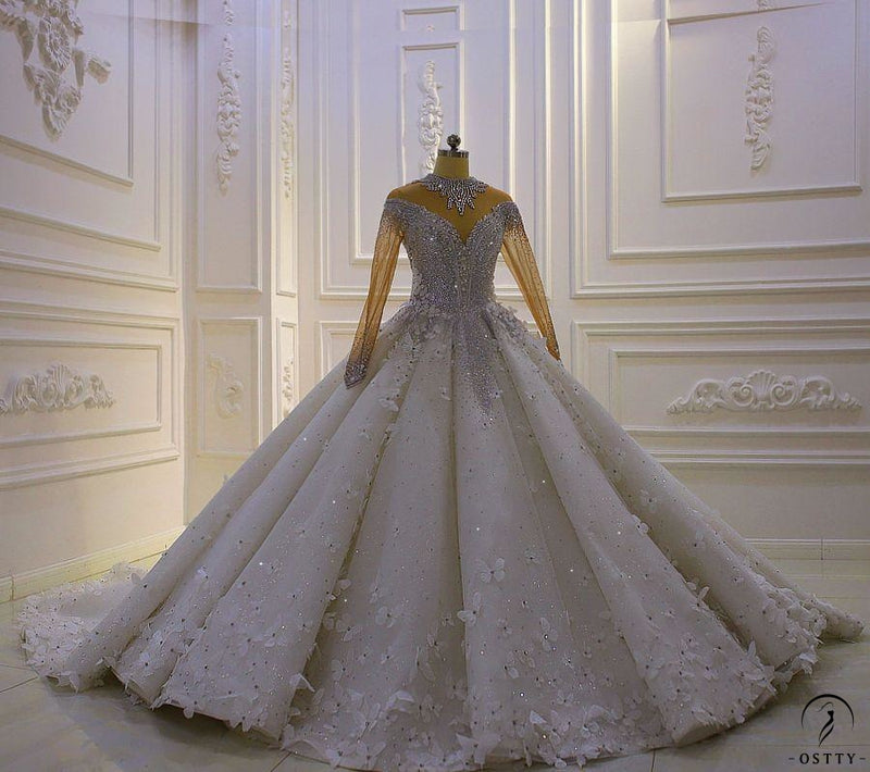 Luxury White Wedding Dress Long Sleeve Full Beading Ball Gown - $1,699.99