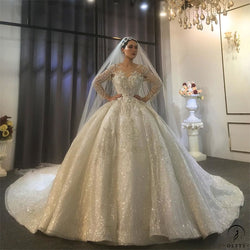 Luxury White Wedding Dress Long Sleeve Full Beading Ball Gown