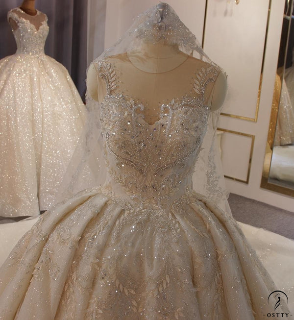 Luxury White Wedding Dress Short Sleeve Full Beading Ball Gown - $829.99