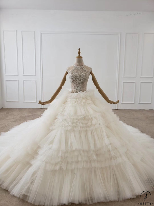 Ostty Champagne Ball Gown Tulle Appliques Short Sleeve Wedding Dress With Train