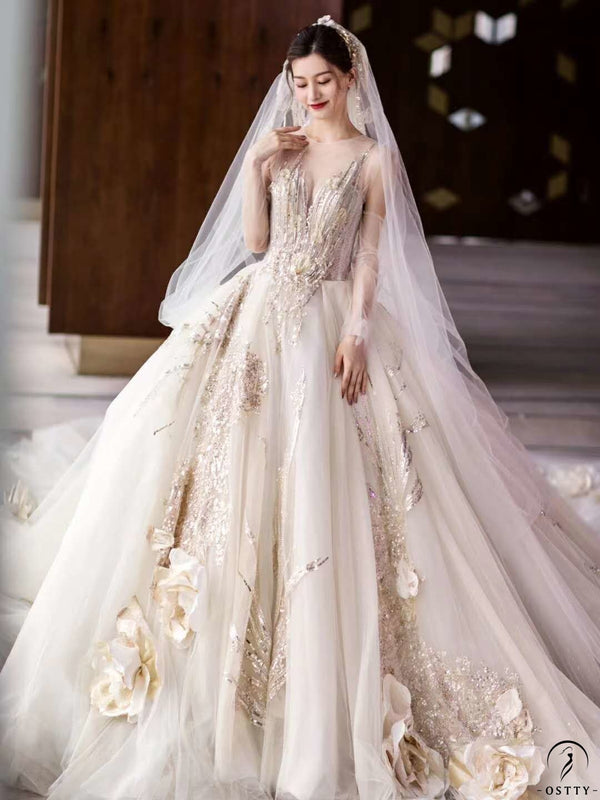 Ostty Champagne Luxury Long Trail Flower Wedding Dress OS00011