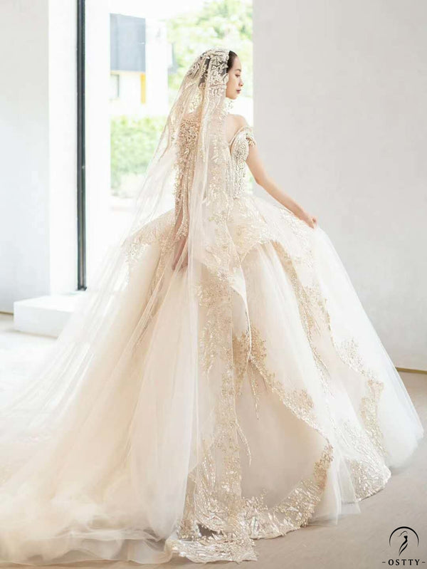 Ostty Champagne Luxury Long Trail Flower Wedding Dress OS00012 - $899.99