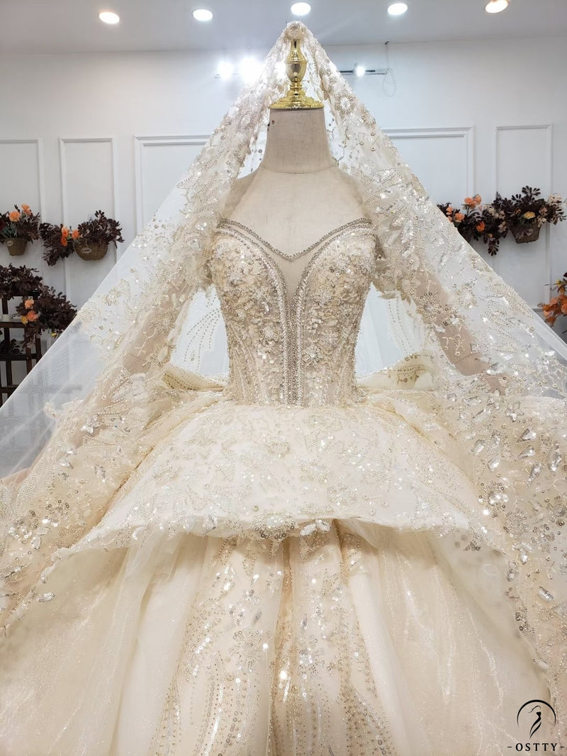 Ostty Champagne Luxury Long Trail Flower Wedding Dress OS00012