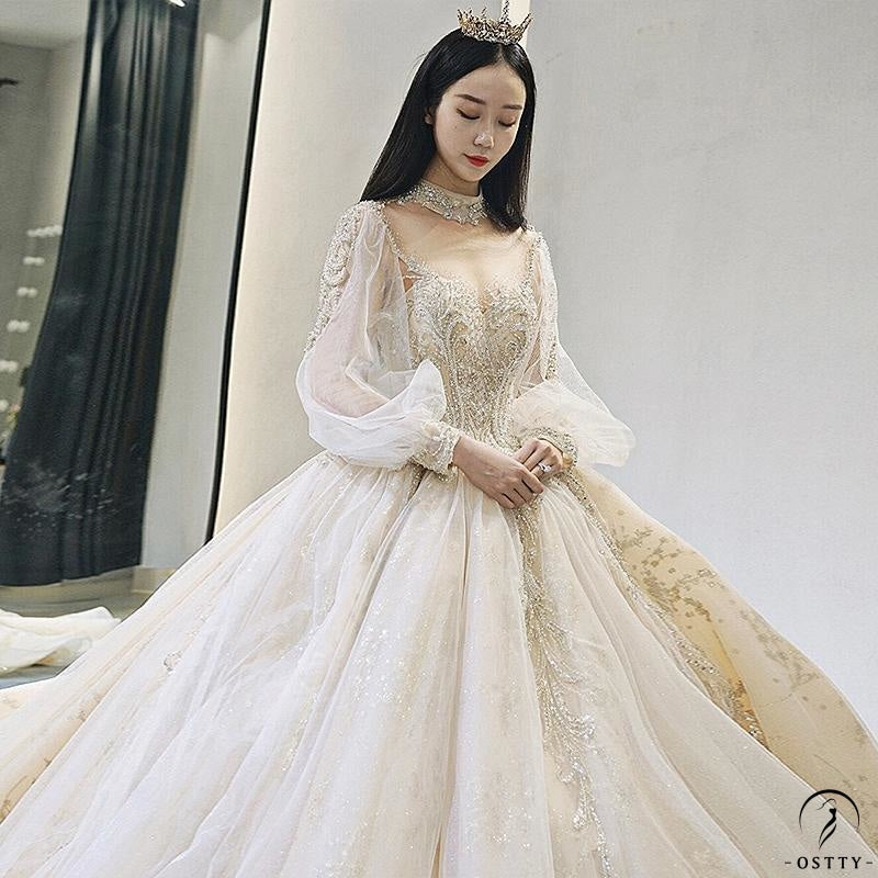 Ostty Champagne Luxury Long Trail Flower Wedding Dress OS00015